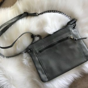 Max Studio Gray Leather Crossbody